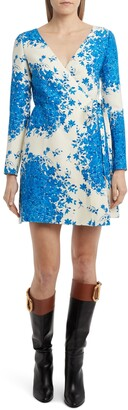 Valentino Delft Print Long Sleeve Wrap Minidress