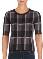 Saks Fifth Avenue BLACK Elbow Sleeve Check Top