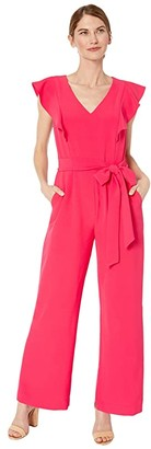 Tahari ASL Petite Stretch Crepe Ruffle Shoulder Jumpsuit (Raspberry) Women's Jumpsuit & Rompers One Piece