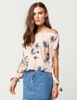 Hip Floral Split Sleeve Womens Off The Shoulder Top
