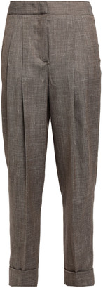 CASASOLA Cropped Pleated Wool, Silk And Linen-blend Tapered Pants
