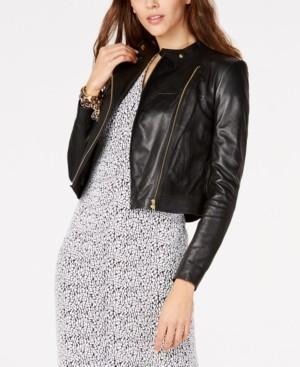 Michael Kors Michael Leather Moto Jacket, Regular & Petite Sizes