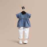 Burberry Ruffle Detail Cotton Chambray Top