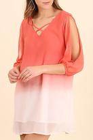 Umgee USA Coral Cold Shoulder Dress