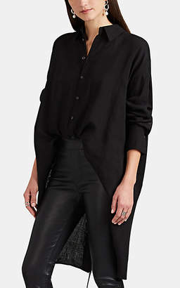 Yohji Yamamoto Regulation Women's Button-Detailed Linen Shirt - Black