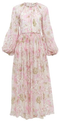 Zimmermann Super Eight Braid-trimmed Silk-chiffon Dress - Pink Print