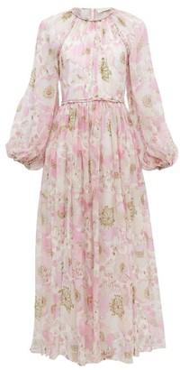 Zimmermann Super Eight Braid-trimmed Silk-chiffon Dress - Womens - Pink Print