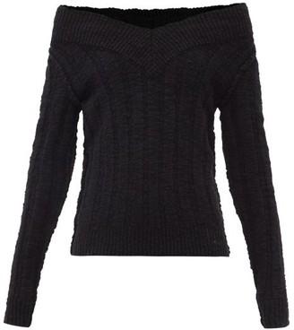 Dolce & Gabbana Off-the-shoulder Ribbed Wool-blend Sweater - Black