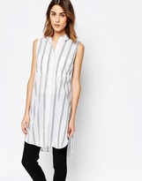 Warehouse Sleeveless Stripe Longline Shirt