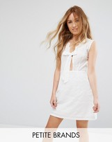Boohoo Petite Tie Front Lace Trim Swing Dress