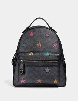 Coach Campus Backpack In Signature Canvas With Star Applique And Snakeskin Detail