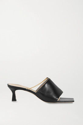 Wandler Isa Chain-embellished Leather Mules - Black