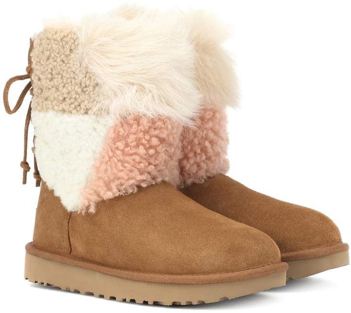ba875c7a130 Classic Short Patchwork Fluff ankle boots