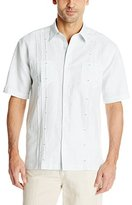 Cubavera Men's Double Chest Pocket with Panel Tucking Short Sleeve Woven Shirt