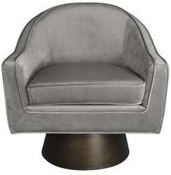 Worlds Away Dominic Swivel Barrel Chair Upholstery Color: Gray