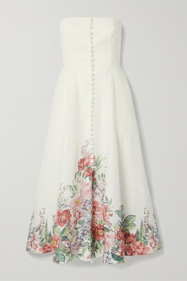 Zimmermann Bellitude Strapless Floral-print Linen Midi Dress - Ivory