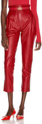 Alberta Ferretti Leather Skinny Pant in Red | FWRD