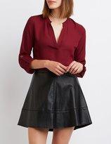 Charlotte Russe Mandarin Split Collar Blouse