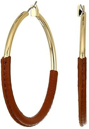 Lauren Ralph Lauren 52 mm Leather Wrapped Hoop Earrings (Gold) Earring