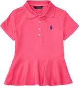 Ralph Lauren 7-16 Stretch Mesh Peplum Polo Shirt