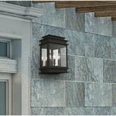 "575 Denim Gobinda 3-Light Outdoor Wall Lantern Gracie Oaks Fixture Finish: Black, Size: 15.25"" H x 12.25"" W x D"