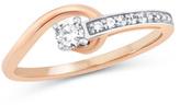 Zales 1/5 CT. T.W. Diamond Asymmetrical Swirl Ring in 10K Two-Tone Gold