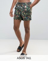 Asos Tall Swim Shorts With Floral Print In Short Length