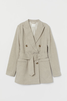 H&M Double-breasted Belted Jacket - Beige