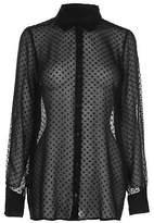 Firetrap Womens Blackseal Dotted Shirt Long Sleeve Casual Lightweight Fold Over