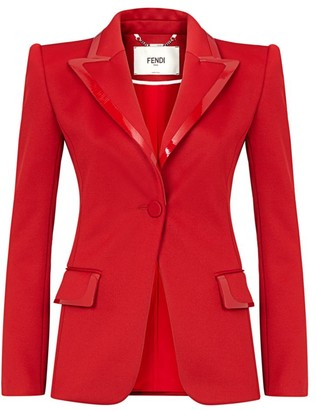 Fendi Leather-Trim Pique Jacket