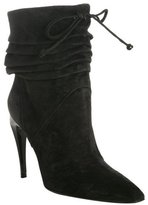 black suede scrunched front tie boots