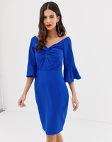 Paper Dolls off shoulder pencil midi dress with knot front detail