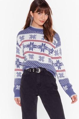 Nasty Gal Womens Tis the Season Fair Isle Christmas Sweater - Navy