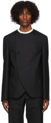 3MAN Black Wool Collarless Blazer
