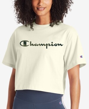 Champion Logo Cropped T-Shirt