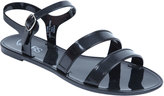 Yours Clothing Black Two Strap Jelly Sandals In EEE Fit