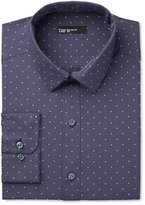 Bar III Men's Interchangeable Collar Slim Fit Navy Dot Dress Shirt, Only at Macy's
