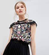 Needle & Thread Embroidered Top with Frill Detail