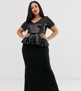 City Goddess Plus maxi dress with peplum frill