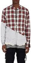 "Greg Lauren Men's ""50/50"" Distressed Plaid Flannel & Jersey Shirt"