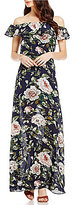 Betsey Johnson Ruffle Off-The-Shoulder Floral Printed Maxi Dress