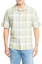 Tommy Bahama &Place de Plaid& Original Fit Plaid Silk Camp Shirt