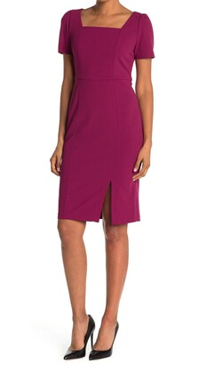 London Times Scruba Crepe Short Sleeve Midi Sheath Dress