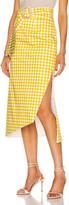 Silvia Tcherassi Fadua Belted Skirt in Citron Gingham | FWRD