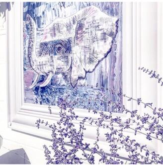 YARDART - Jess Yelland 'Abayomi the Elephant' Outdoor Waterproof Framed Print, 67 x 67cm, Light Blue