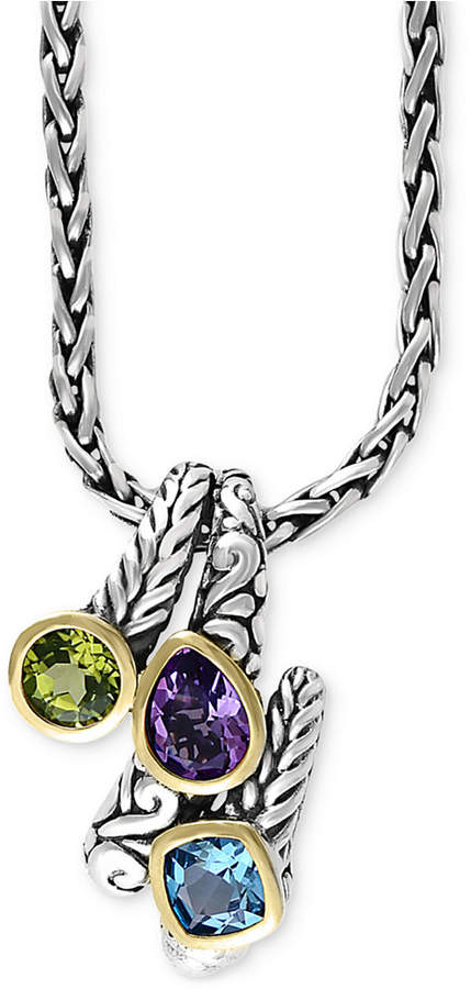 Effy Balissima by Multi-Gemstone Pendant Necklace (3-1/3 ct. t.w.) in Sterling Silver and 18k Gold