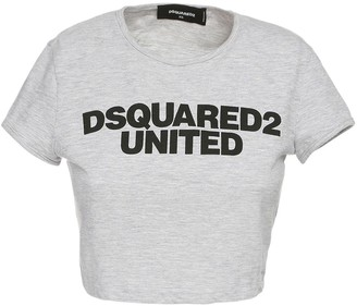 DSQUARED2 Crop Logo Print Cotton Blend T-shirt