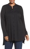 Eileen Fisher Plus Size Women's Cotton Jersey Mandarin Collar Tunic
