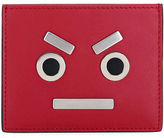 Fendi Face Leather Card Case, Red