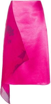 Marine Serre Chiffon-Panelled Asymmetric Satin Skirt